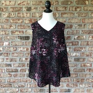 CJ Banks Velvet Flocked V-Neck Sleeveless Top 3X